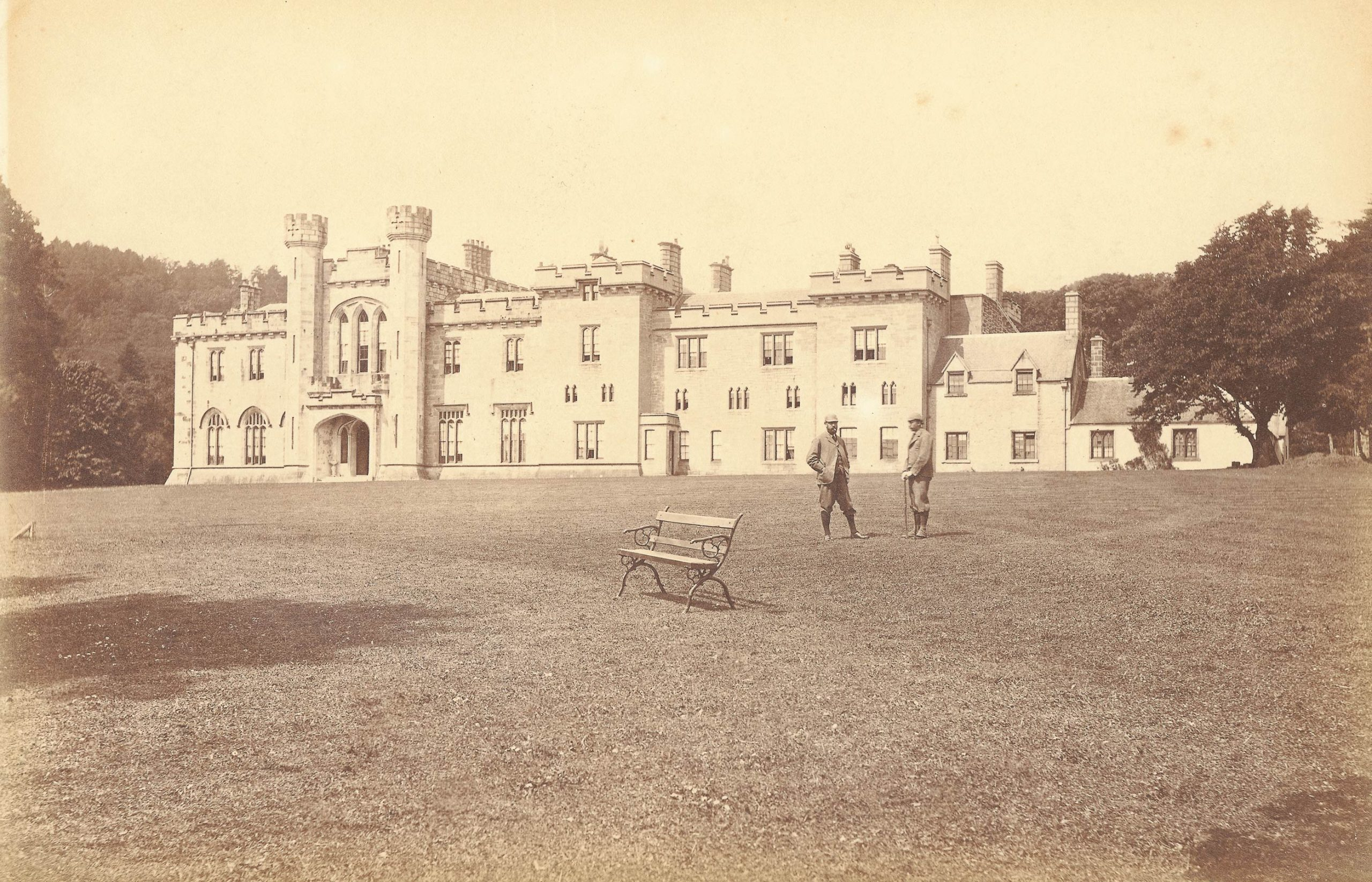 View of castle from front lawn, photograph taken in 1900