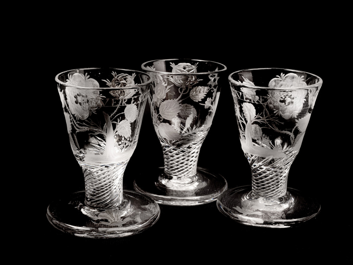 Some of the Jacobite firing glasses acquired by the Museum