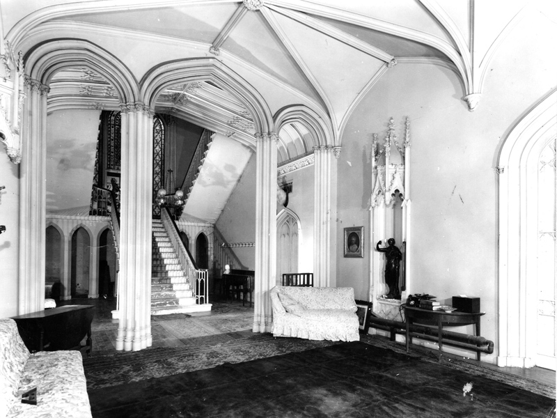 The front hall designed by Gillespie Graham, before demolition