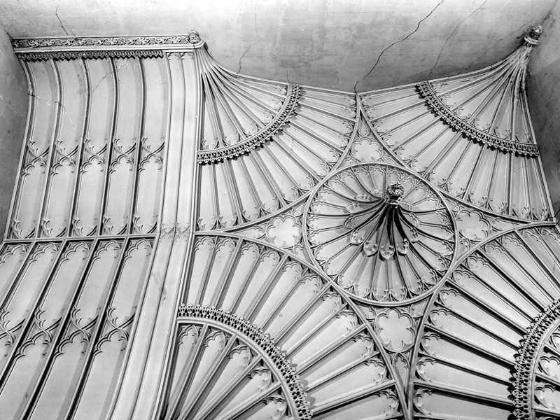 Detail of original staircase ceiling showing decaying plasterwork